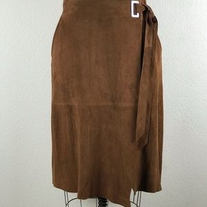 Faux Wrap Brown Leather Skirt Size 4